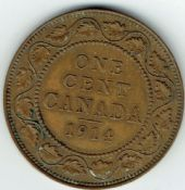 Canada, George V, One Cent 1914, VF, WB6856